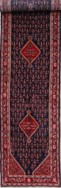 Navy Blue Malayer Persian Runner Rug 4x16
