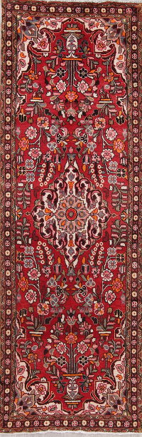 Floral Red Hamedan Persian Runner Rug 3x10