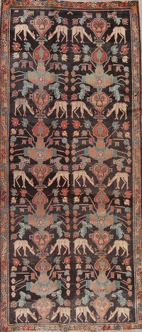 Antique Vegetable Dye Tribal Bakhtiari Persian Runner Rug 4x9