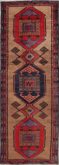 Brown Geometric Sarab Persian Runner Rug 3x9