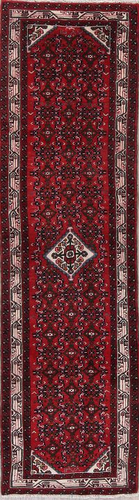 Red Hamedan Persian Runner Rug 3x9