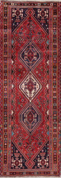 Red Geometric Abadeh Persian Runner Rug 4x10