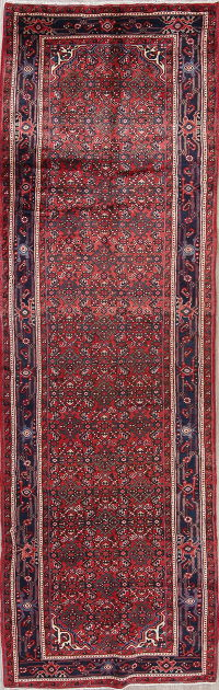 Red All-Over Hamedan Persian Runner Rug 4x12