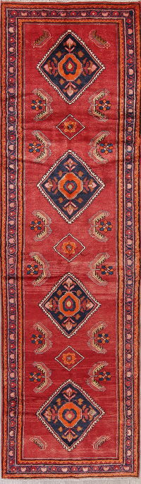 Red Geometric Lilian Persian Runner Rug 3x12