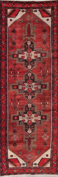 Red Tribal Hamedan Persian Runner Rug 3x10