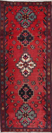 Geometric Red Bakhtiari Persian Runner Rug 4x10