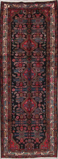 Black Geometric Malayer Persian Runner Rug 3x9