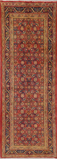 Red Geometric Heriz Persian Runner Rug 4x10