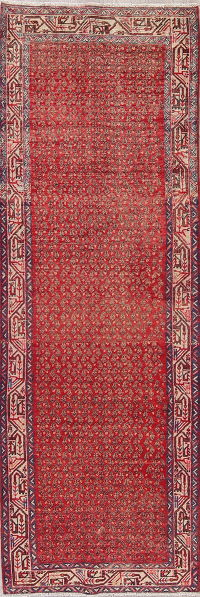 All-Over Red Botemir Persian Runner Rug 4x10