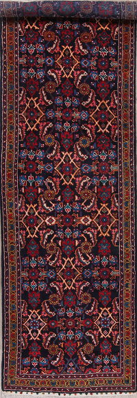 Navy Blue Sultanabad Persian Runner Rug 4x14