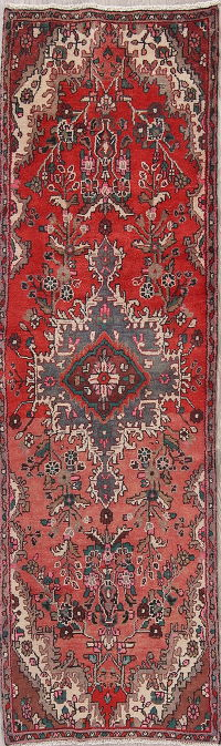 Floral Red Hamedan Persian Runner Rug 3x9