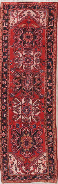 Red Wool Heriz Persian Runner Rug 4x11