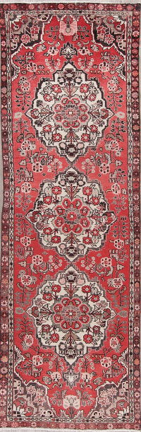 Floral Red Bakhtiari Persian Runner Rug 3x10