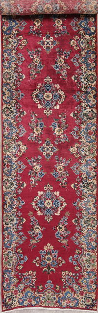 Antique Floral Kerman Persian Runner Rug 3x14