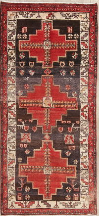 Tribal Red Hamedan Persian Runner Rug 3x7