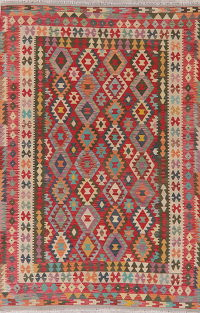 Flat-Weave Kilim Turkish Area Rug Wool 6x10