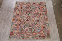 Color-full Geometric Turkish Kilim Area Rug Wool 8x10