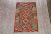 Color-full Geometric Turkish Kilim Area Rug Wool 5x8