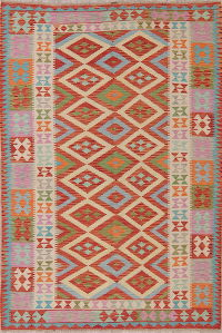 Flat-Weave Kilim Turkish Area Rug Wool 5x8