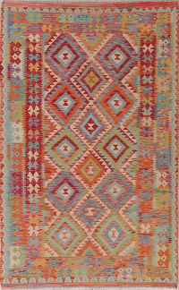 Flat-Weave Kilim Turkish Area Rug Wool 5x9
