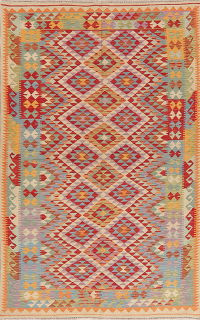 Color-Full Geometric Turkish Kilim Area Rug Wool 6x9