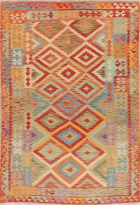 Flat-Weave Kilim Turkish Area Rug Wool 6x9