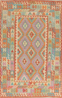 Pastel Color Flat-Weave Turkish Kilim Area Rug 5x8