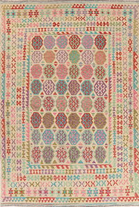Color-full Geometric Turkish Kilim Area Rug Wool 8x12