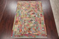 Flat-Weave Kilim Turkish Area Rug Wool 7x9