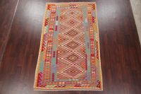 Color-full Geometric Turkish Kilim Area Rug Wool 5x9