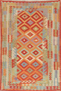 Color-full Geometric Turkish Kilim Area Rug Wool 6x8