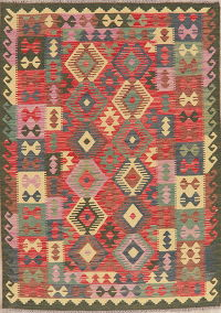 Pastel Color Flat-Weave Turkish Kilim Area Rug 5x7