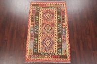 Modern Flat-Weave Turkish Kilim Area Rug 4x7