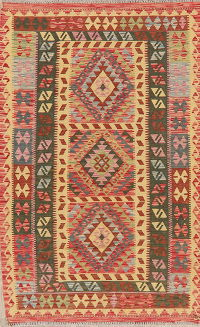 Pastel Color Flat-Weave Turkish Kilim Area Rug 4x7