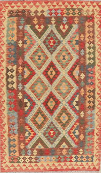 Color-full Geometric Turkish Kilim Area Rug Wool 4x7