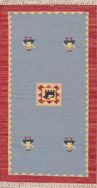 Flat-Weave Kilim Turkish Rug Wool 2x4
