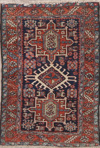 Antique Navy Blue Gharajeh Persian Wool Rug 3x5