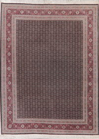 All-Over Black Aubusson Oriental Wool Rug 9x12