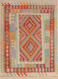 Color-full Geometric Turkish Kilim Rug Wool 5x6