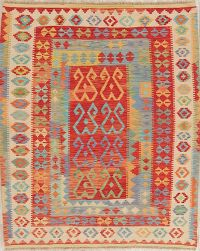 Flat-Weave Kilim Turkish Rug Wool 5x6
