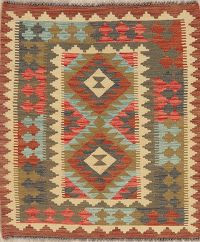 Color-full Geometric Turkish Kilim Rug Wool 3x4