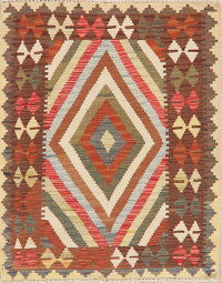Multi-Color Kilim Turkish Oriental Wool Rug 3x4