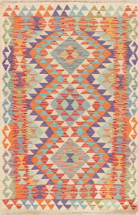 Multi-Color Kilim Turkish Oriental Wool Rug 3x5