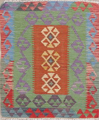 Pastel Color Kilim Turkish Oriental Wool Rug 3x4