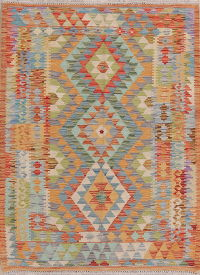 Pastel Color Kilim Turkish Oriental Wool Rug 4x5