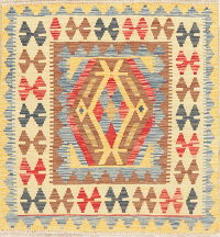 Kilim Turkish Oriental Wool Rug 3x3 Square