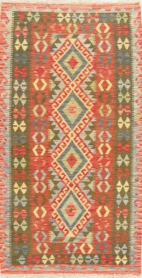 Pastel Color Flat-Weave Kilim Turkish Rug Wool 4x6