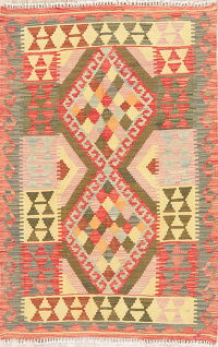 Pastel Color Flat-Weave Kilim Turkish Rug Wool 3x5