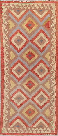 Flat-Weave Kilim Turkish Runner Rug Wool 4x8