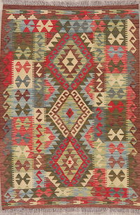 Flat-Weave Kilim Turkish Rug Wool 3x5